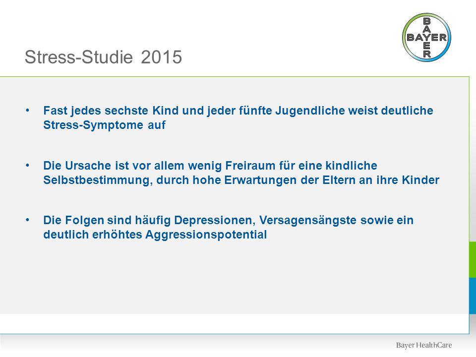 Stress-Studie 2015 Fast jedes sechste Kind und jeder fünfte Jugendliche weist deutliche Stress-Symptome auf Die Ursache ist vor allem wenig Freiraum f