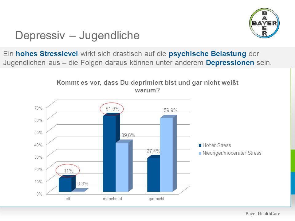 Depressiv – Jugendliche Ein hohes Stresslevel wirkt sich drastisch auf die psychische Belastung der Jugendlichen aus – die Folgen daraus können unter