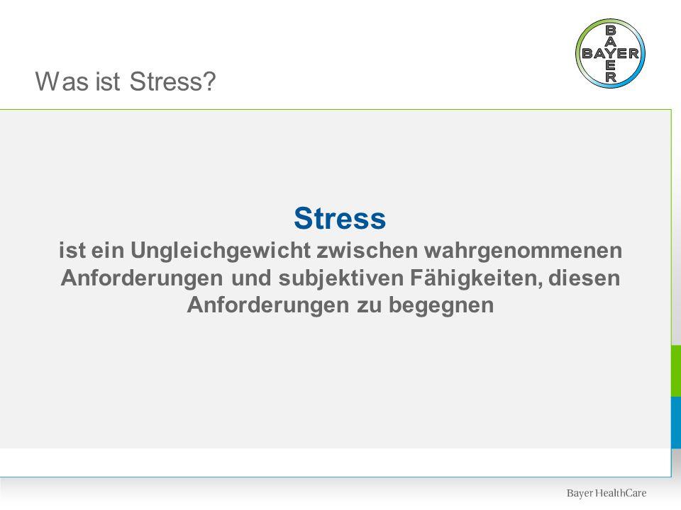 Was ist Stress? Stress ist ein Ungleichgewicht zwischen wahrgenommenen Anforderungen und subjektiven Fähigkeiten, diesen Anforderungen zu begegnen