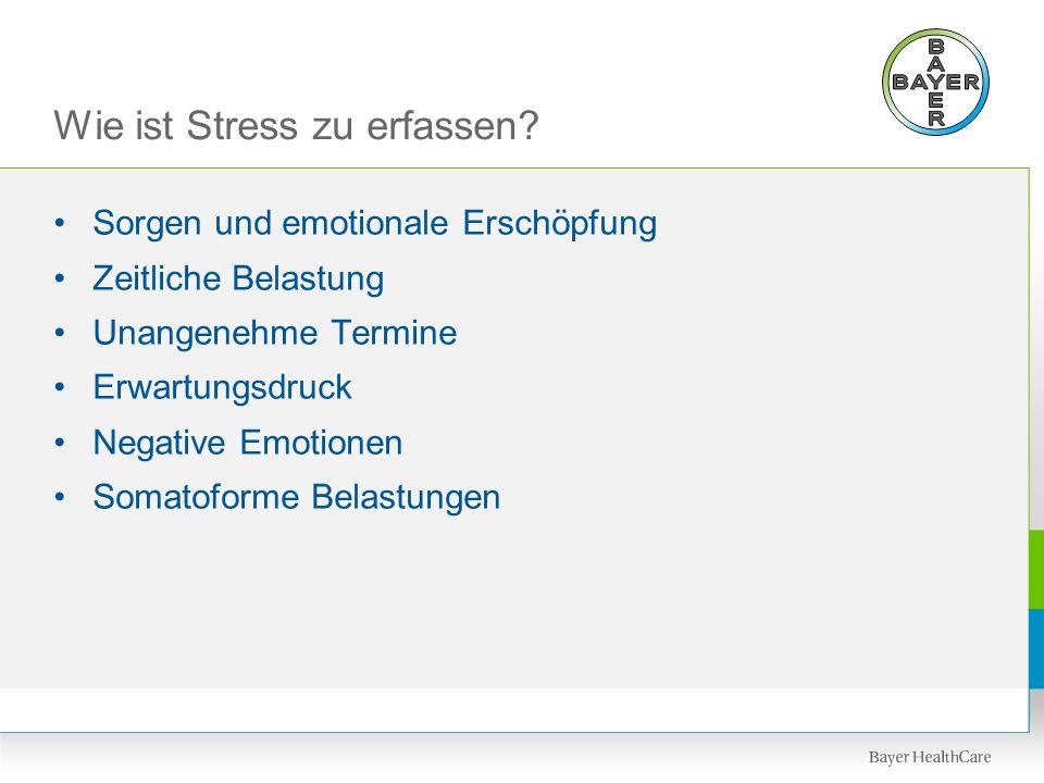 Wie ist Stress zu erfassen? Sorgen und emotionale Erschöpfung Zeitliche Belastung Unangenehme Termine Erwartungsdruck Negative Emotionen Somatoforme B