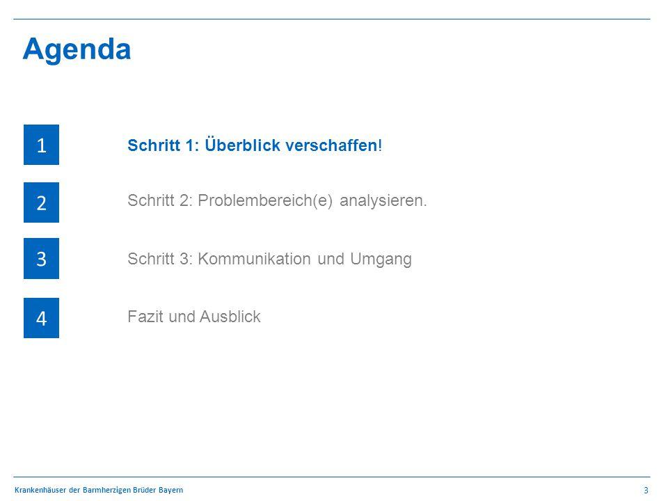 3 Krankenhäuser der Barmherzigen Brüder Bayern Agenda 1 4 3 2 QSR – Methodik 1 4 3 2 Schritt 2: Problembereich(e) analysieren.