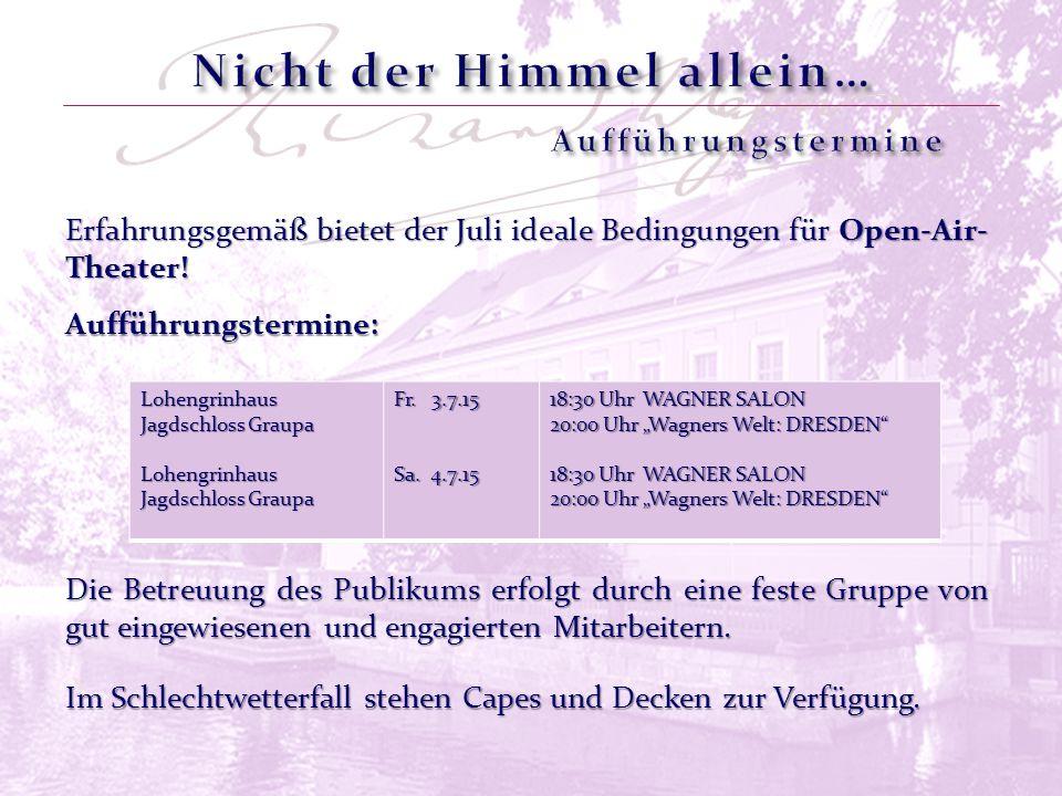 Erfahrungsgemäß bietet der Juli ideale Bedingungen für Open-Air- Theater! Lohengrinhaus Jagdschloss Graupa Lohengrinhaus Jagdschloss Graupa Fr. 3.7.15