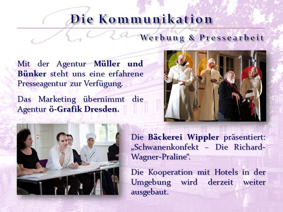 Das Marketing übernimmt die Agentur ö-Grafik Dresden. Mit der Agentur Müller und Bünker steht uns eine erfahrene Presseagentur zur Verfügung. Die Koop