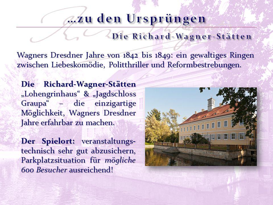 Wagners Dresdner Jahre von 1842 bis 1849: ein gewaltiges Ringen zwischen Liebeskomödie, Politthriller und Reformbestrebungen. Der Spielort: veranstalt