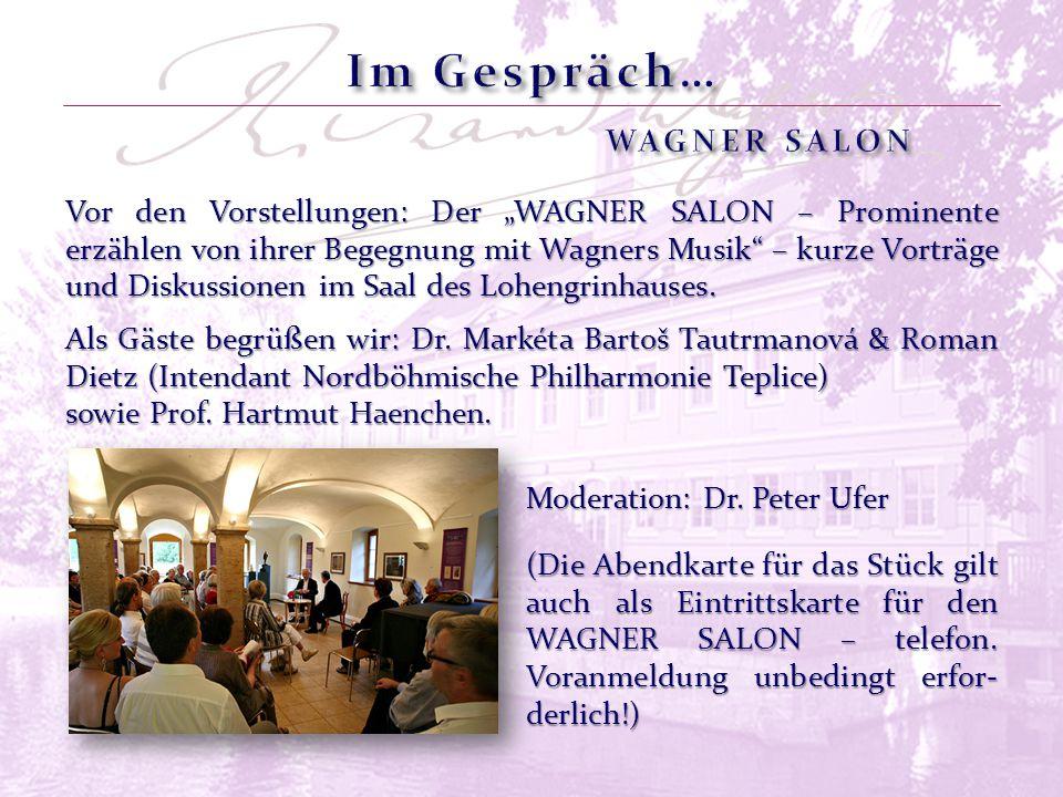 """Vor den Vorstellungen: Der """"WAGNER SALON – Prominente erzählen von ihrer Begegnung mit Wagners Musik"""" – kurze Vorträge und Diskussionen im Saal des Lo"""