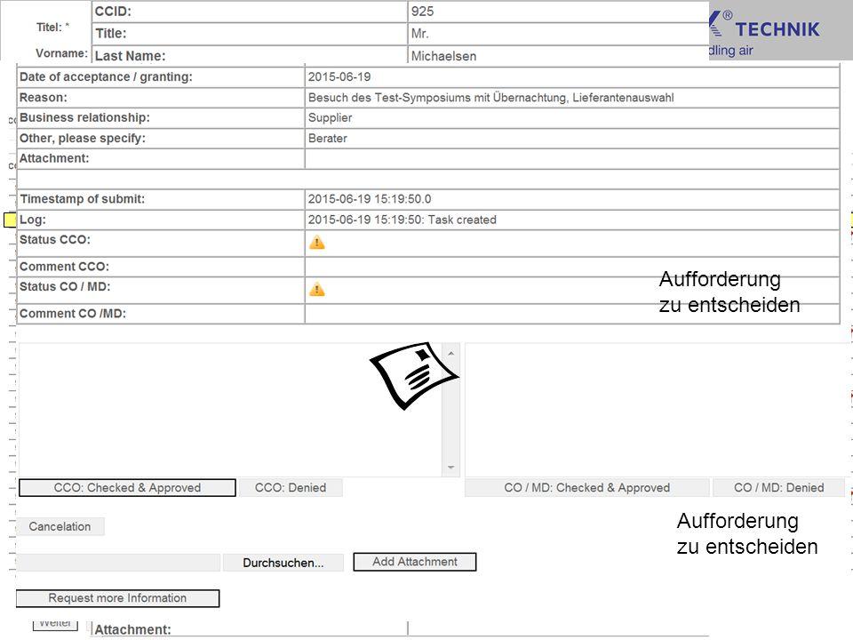 13 Vorstellung Meldeformular TROX GmbH CCO User Vorge- setzter CM/CO Event, Geschenk >35€ Event, Geschenk >100€ Aufforderung zu entscheiden