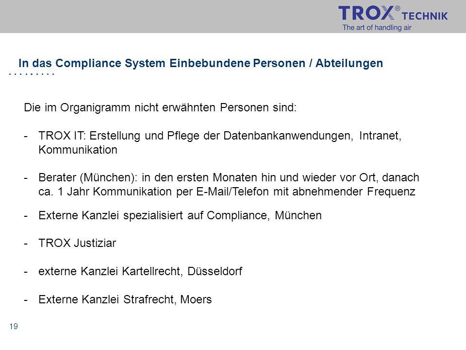 19 In das Compliance System Einbebundene Personen / Abteilungen Die im Organigramm nicht erwähnten Personen sind: -TROX IT: Erstellung und Pflege der