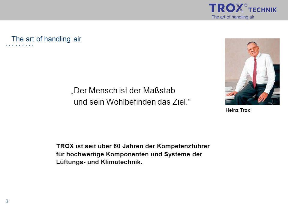 """3 Heinz Trox """"Der Mensch ist der Maßstab und sein Wohlbefinden das Ziel."""" TROX ist seit über 60 Jahren der Kompetenzführer für hochwertige Komponenten"""
