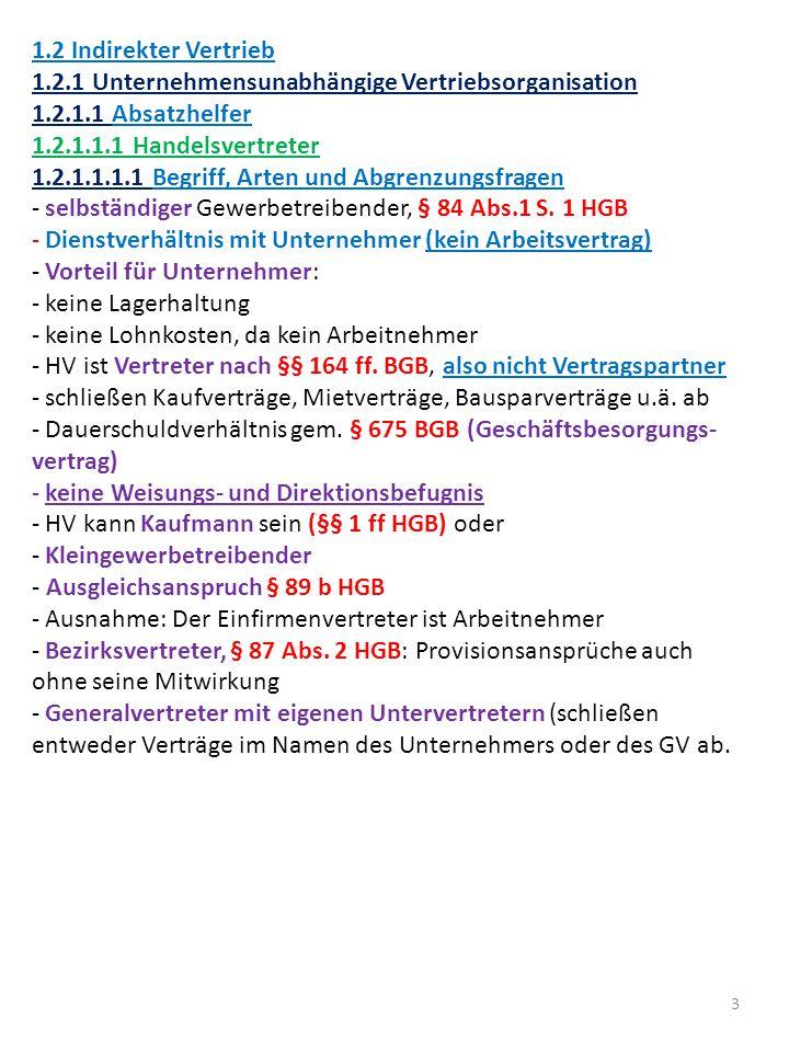 4 1.2.1.1.1.2 Innenverhältnis zum Unternehmer - Form: Formfrei - Inhalt: Vertragsfreiheit, §§ 84 ff.
