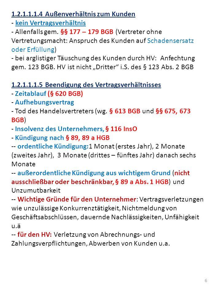 17 1.2.1.2.2.4 Sondervorschriften Verbrauchsgüterkauf Folge der Privatautonomie im Kaufrecht: Umfang der Gewährleistung kann vereinbart und durch Einzelvertrag (nicht durch AGB bei neuen Sachen) vollständig ausgeschlossen werden - Ausnahme: Verbrauchsgüterkauf, §§ 474 ff.