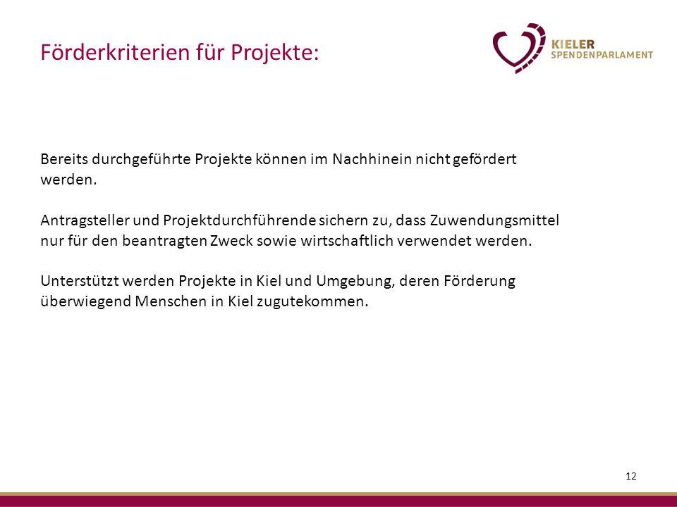 Bereits durchgeführte Projekte können im Nachhinein nicht gefördert werden.