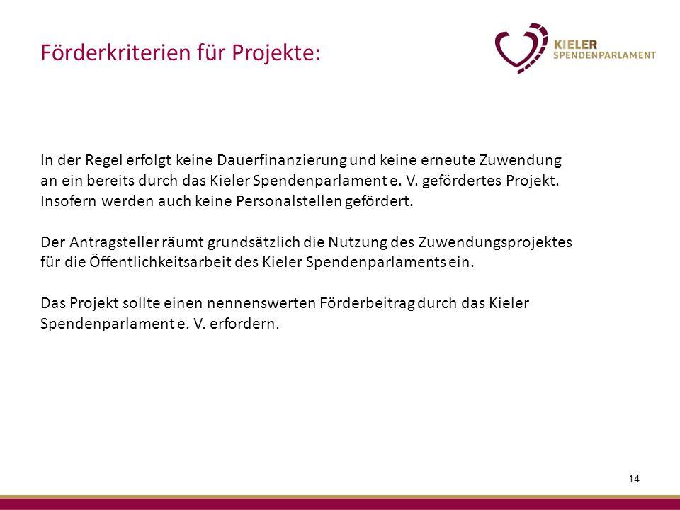In der Regel erfolgt keine Dauerfinanzierung und keine erneute Zuwendung an ein bereits durch das Kieler Spendenparlament e.