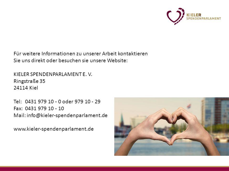 Für weitere Informationen zu unserer Arbeit kontaktieren Sie uns direkt oder besuchen sie unsere Website: KIELER SPENDENPARLAMENT E.