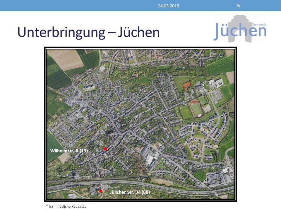 Unterbringung – Jüchen 24.03.2015 5 Wilhelmstr. 8 (19) Jülicher Str. 34 (80) * (x) = mögliche Kapazität