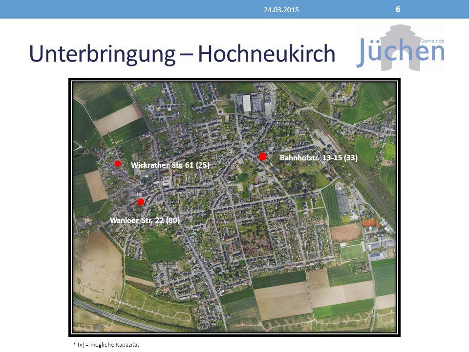 Unterbringung – Hochneukirch 24.03.2015 6 Wickrather Str. 61 (25) Wanloer Str. 22 (80) Bahnhofstr. 13-15 (33) * (x) = mögliche Kapazität