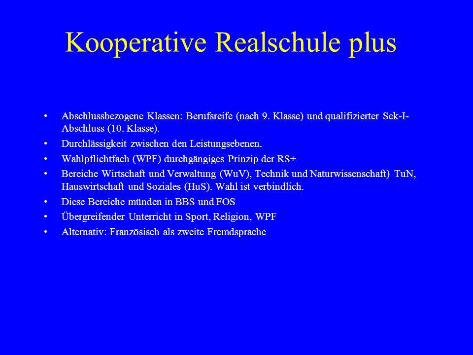 Kooperative Realschule plus Abschlussbezogene Klassen: Berufsreife (nach 9. Klasse) und qualifizierter Sek-I- Abschluss (10. Klasse). Durchlässigkeit