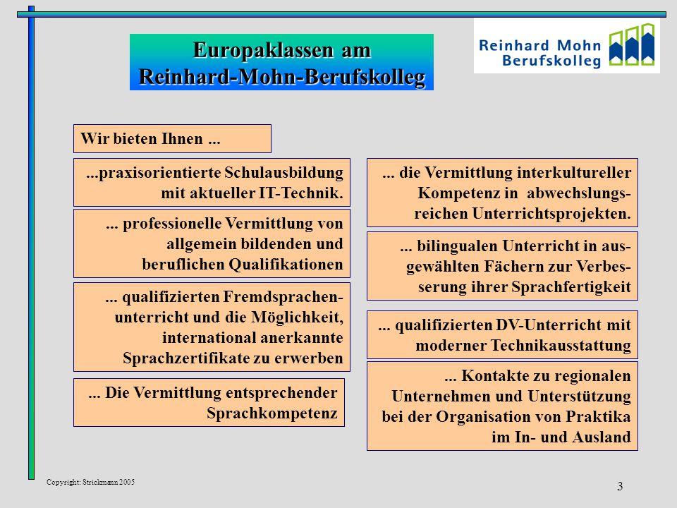 Copyright: Strickmann 2005 3 Europaklassen am Reinhard-Mohn-Berufskolleg... qualifizierten Fremdsprachen- unterricht und die Möglichkeit, internationa