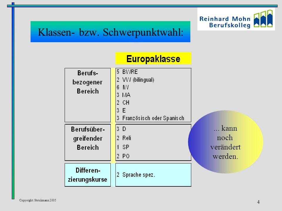 Copyright: Strickmann 2005 4 Klassen- bzw. Schwerpunktwahl:... kann noch verändert werden.
