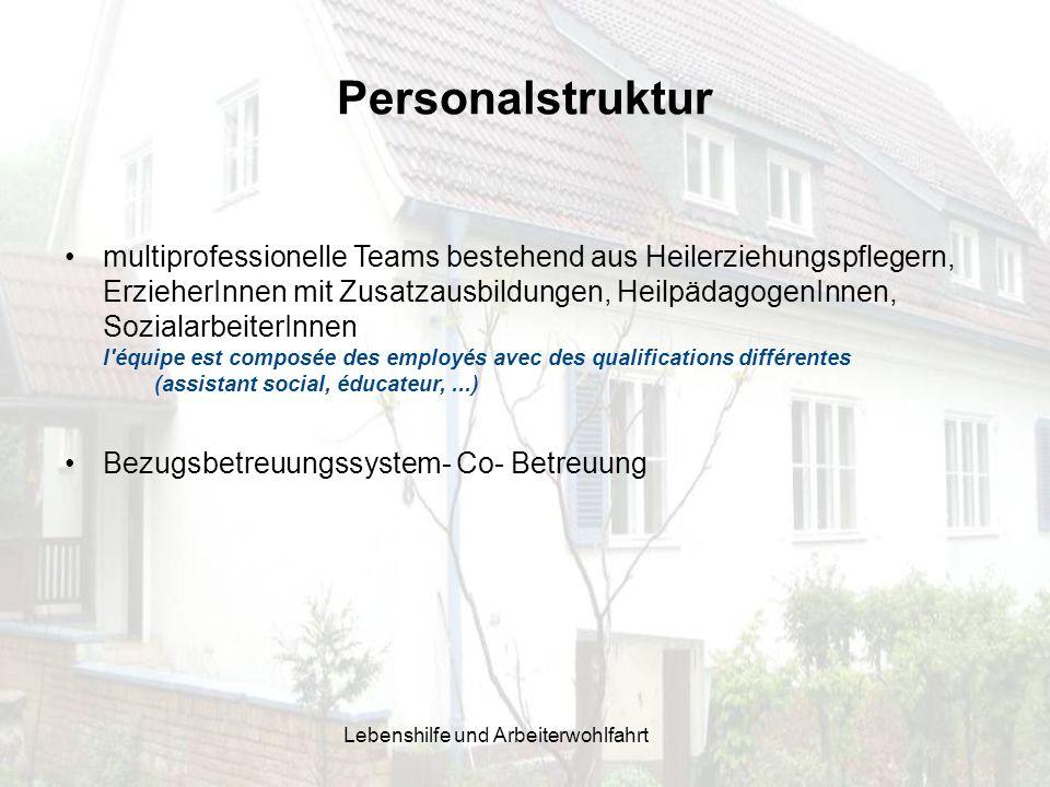 Personalstruktur multiprofessionelle Teams bestehend aus Heilerziehungspflegern, ErzieherInnen mit Zusatzausbildungen, HeilpädagogenInnen, Sozialarbei