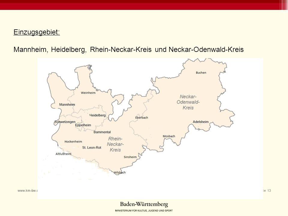 21.01.2015 Folie 13www.km-bw.de Einzugsgebiet: Mannheim, Heidelberg, Rhein-Neckar-Kreis und Neckar-Odenwald-Kreis