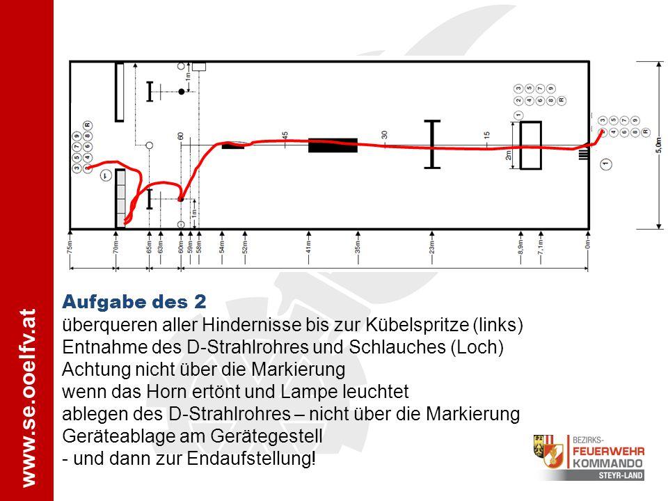 Aufgabe des 2 überqueren aller Hindernisse bis zur Kübelspritze (links) Entnahme des D-Strahlrohres und Schlauches (Loch) Achtung nicht über die Marki