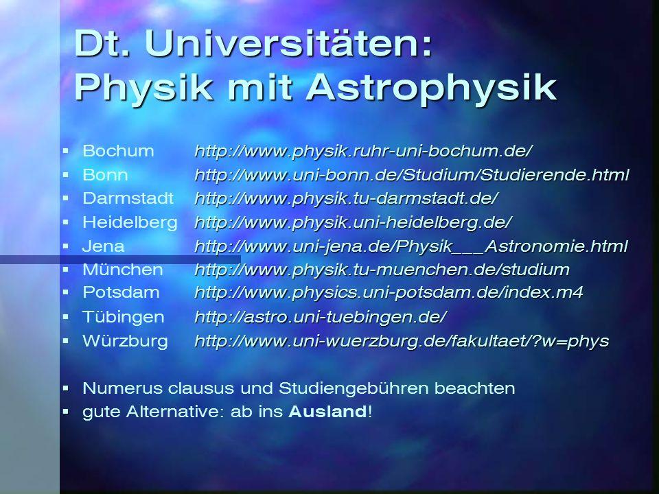 Dt. Universitäten: Physik mit Astrophysik http://www.physik.ruhr-uni-bochum.de/  Bochum http://www.physik.ruhr-uni-bochum.de/ http://www.uni-bonn.de/