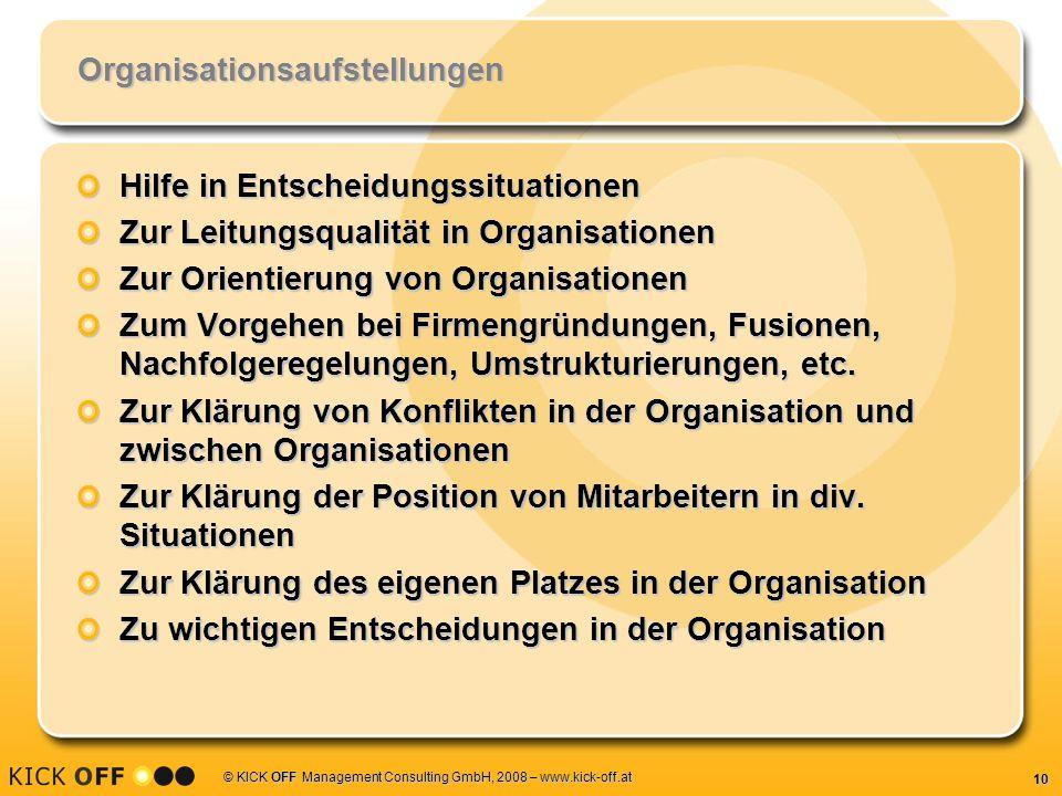 10 © KICK OFF Management Consulting GmbH, 2008 – www.kick-off.at Organisationsaufstellungen Hilfe in Entscheidungssituationen Zur Leitungsqualität in