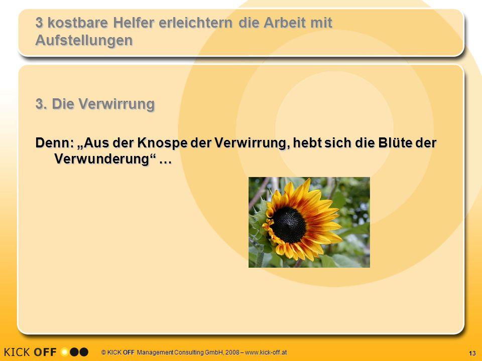13 © KICK OFF Management Consulting GmbH, 2008 – www.kick-off.at 3 kostbare Helfer erleichtern die Arbeit mit Aufstellungen 3.