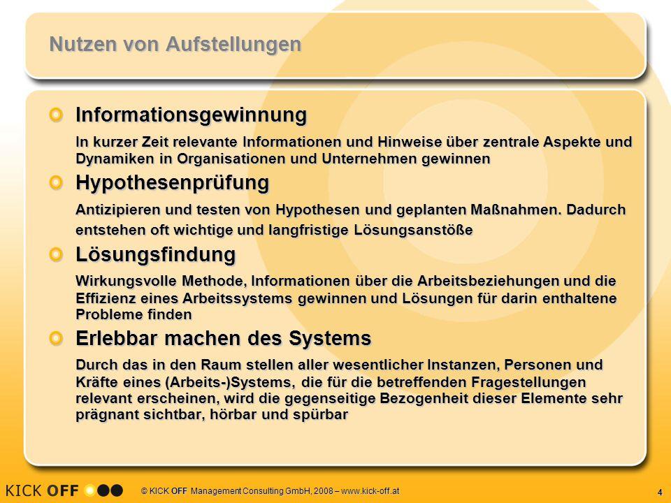 5 © KICK OFF Management Consulting GmbH, 2008 – www.kick-off.at Aufstellungsarten Systemaufstellungen Familienaufstellung ist eine Form der Systemaufstellung StrukturaufstellungenOrganisationsaufstellungen