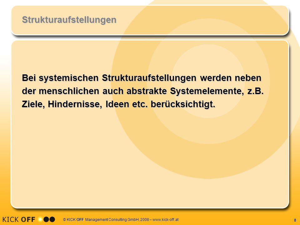 9 © KICK OFF Management Consulting GmbH, 2008 – www.kick-off.at Organisationsaufstellungen Mit Hilfe von Organisationsaufstellungen kann man in kurzer Zeit relevante Informationen und Hinweise über zentrale Aspekte und Dynamiken in Organisationen und Unternehmen gewinnen.