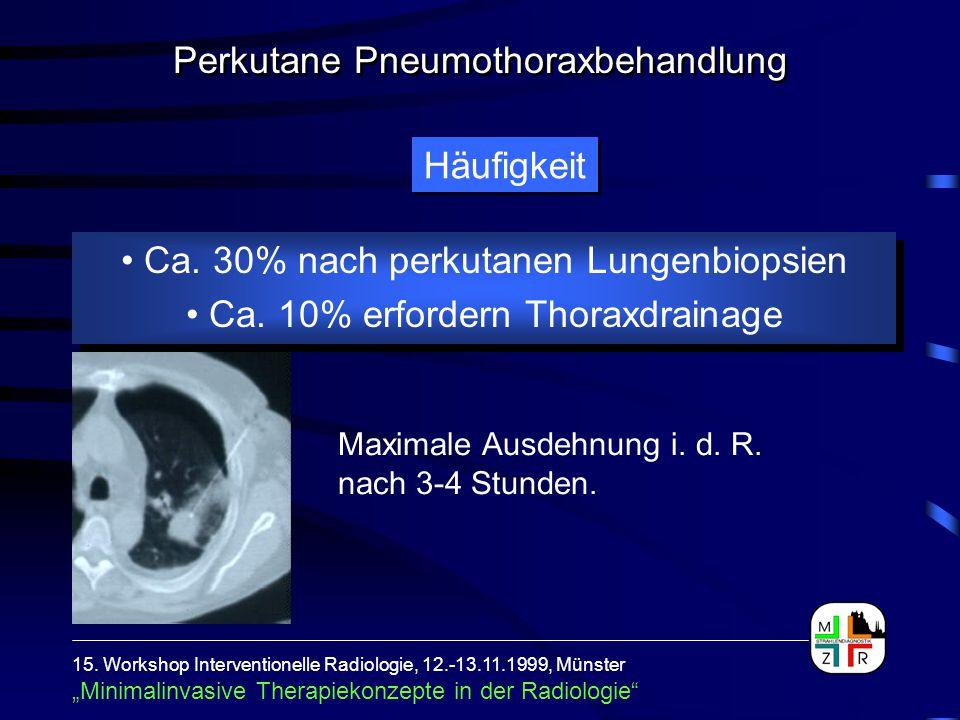 Ca. 30% nach perkutanen Lungenbiopsien Ca. 10% erfordern Thoraxdrainage Ca. 30% nach perkutanen Lungenbiopsien Ca. 10% erfordern Thoraxdrainage Häufig