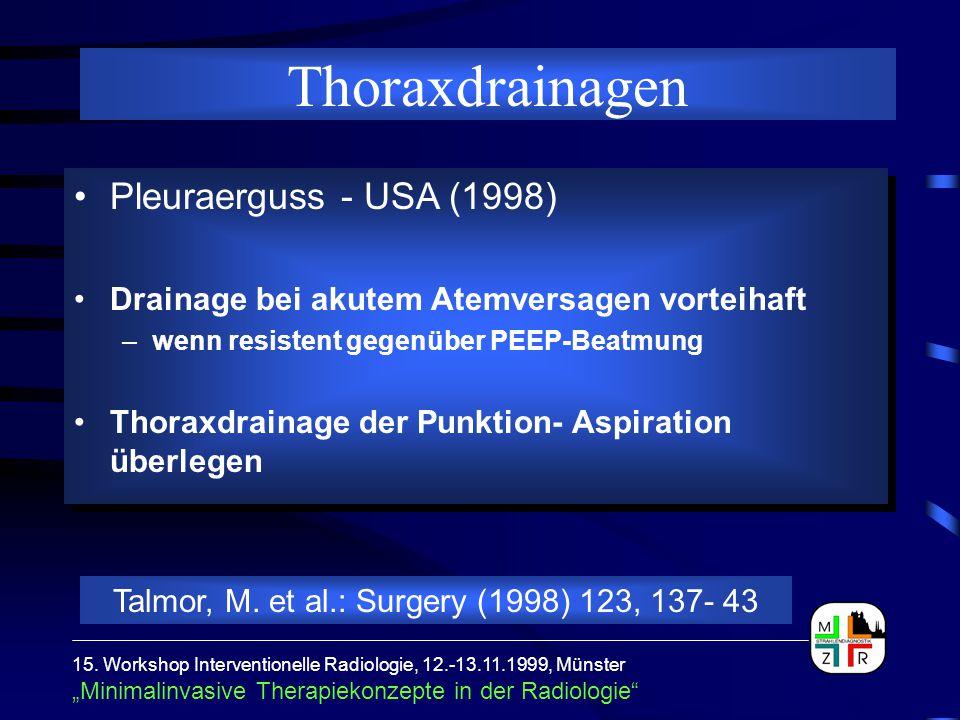"""15. Workshop Interventionelle Radiologie, 12.-13.11.1999, Münster """"Minimalinvasive Therapiekonzepte in der Radiologie"""" Pleuraerguss - USA (1998) Drain"""