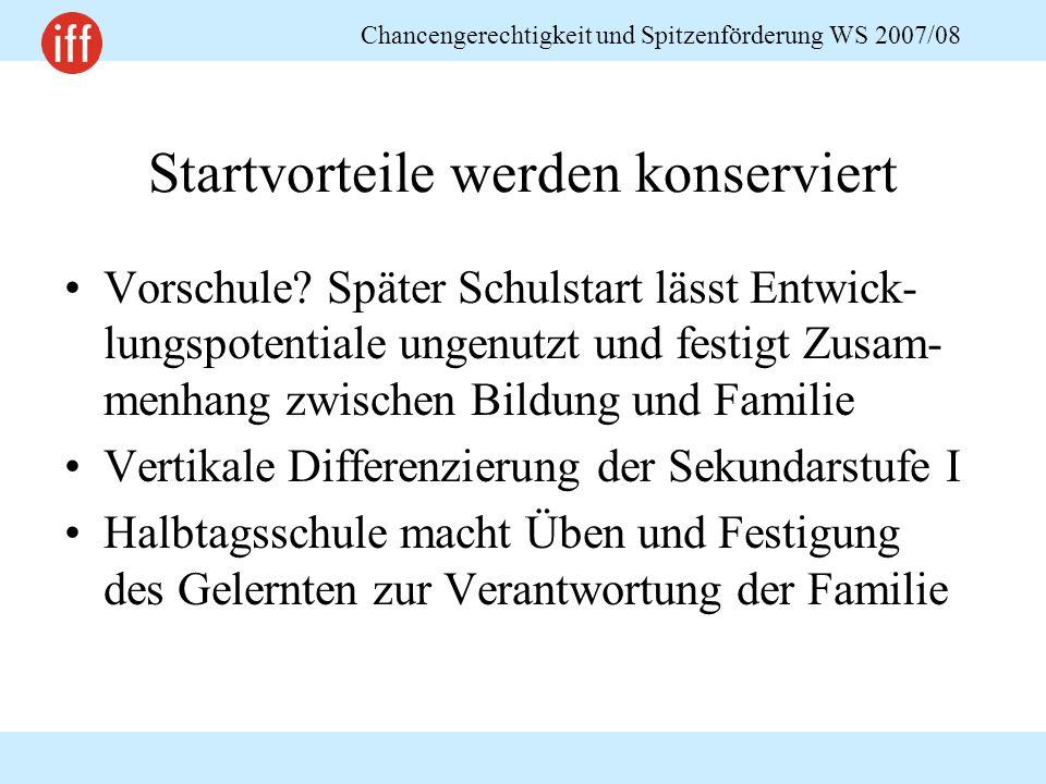 Chancengerechtigkeit und Spitzenförderung WS 2007/08 Startvorteile werden konserviert Vorschule.