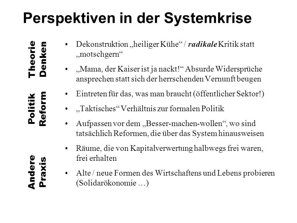"""Perspektiven in der Systemkrise Dekonstruktion """"heiliger Kühe / radikale Kritik statt """"motschgern """"Mama, der Kaiser ist ja nackt! Absurde Widersprüche ansprechen statt sich der herrschenden Vernunft beugen Eintreten für das, was man braucht (öffentlicher Sektor!) """"Taktisches Verhältnis zur formalen Politik Aufpassen vor dem """"Besser-machen-wollen , wo sind tatsächlich Reformen, die über das System hinausweisen Räume, die von Kapitalverwertung halbwegs frei waren, frei erhalten Alte / neue Formen des Wirtschaftens und Lebens probieren (Solidarökonomie …) Theorie Denken Politik Reform Andere Praxis"""