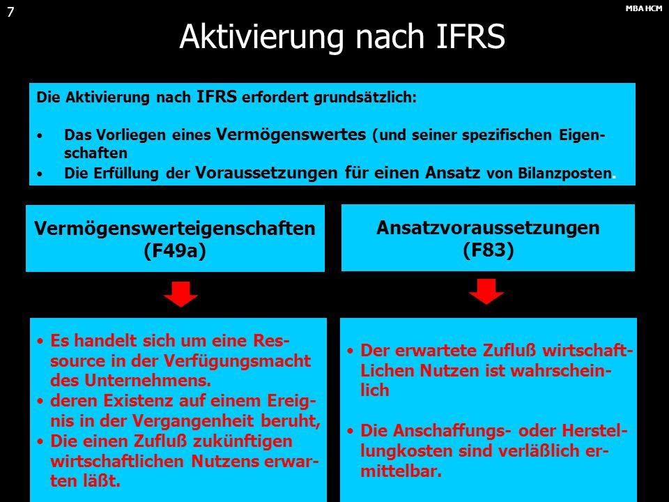 MBA HCM 17 Bewertung nach IFRS Folgebewertung am Beispiel Sachanlagevermögen Folgebewertung am Beispiel des Sachanlagevermögens (IAS 16.28 ff.) Benchmark-MethodeAlternativ zulässig Bewertung mit AHK abzgl.