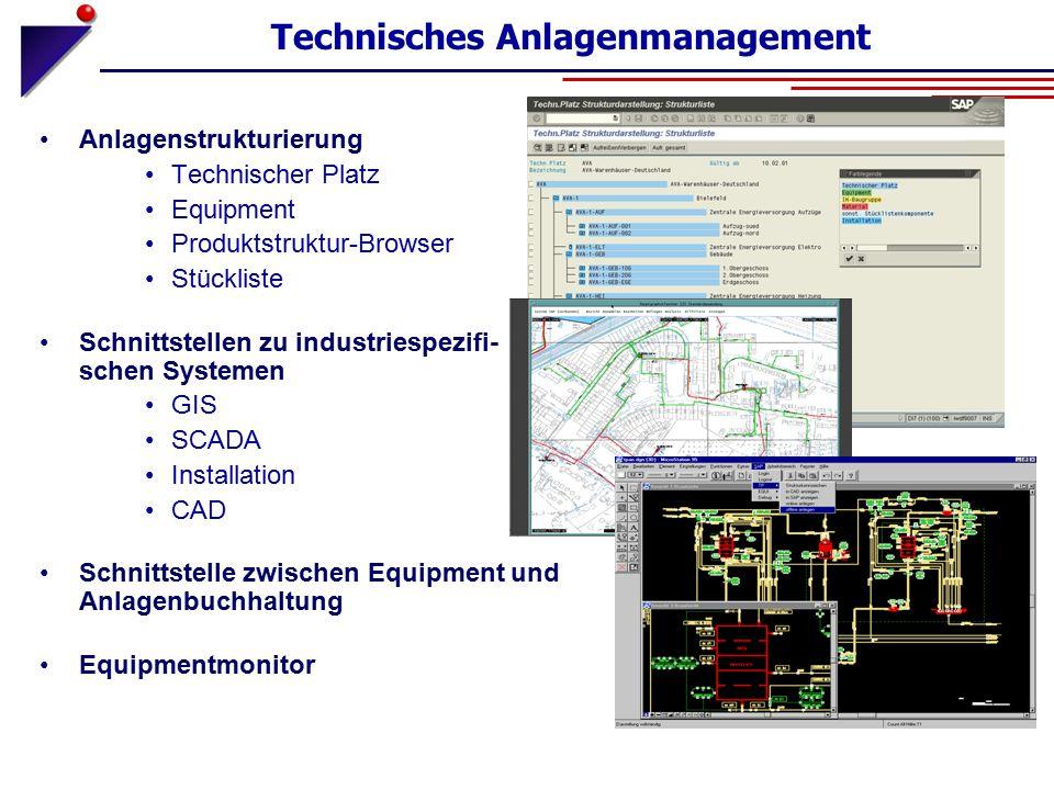 Technisches Anlagenmanagement Anlagenstrukturierung Technischer Platz Equipment Produktstruktur-Browser Stückliste Schnittstellen zu industriespezifi-