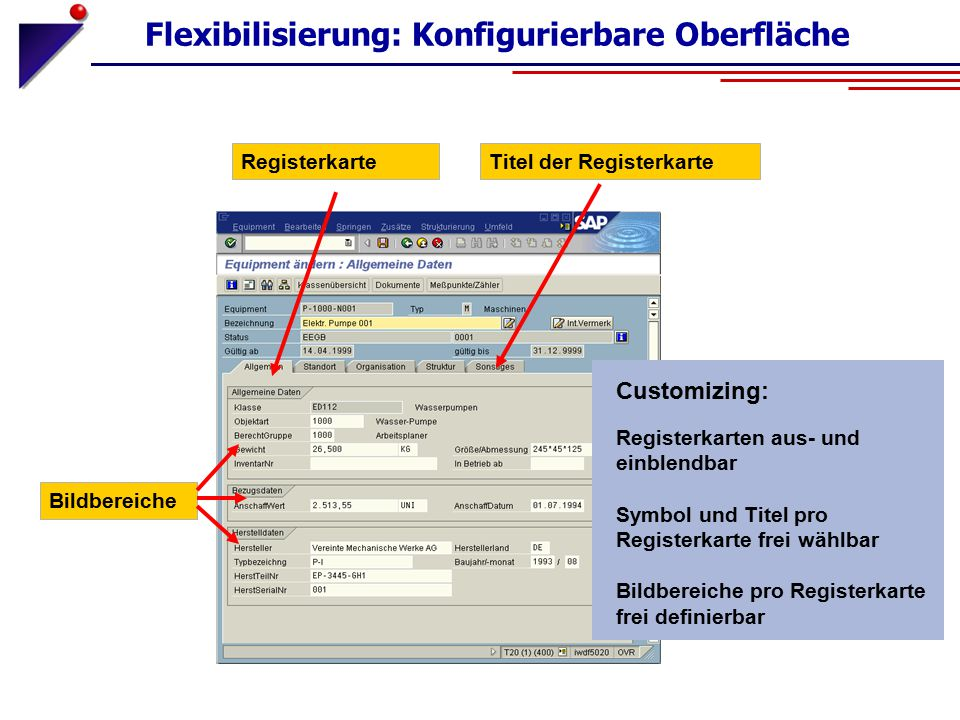 Customizing: Flexibilisierung: Konfigurierbare Oberfläche Registerkarten aus- und einblendbar Symbol und Titel pro Registerkarte frei wählbar Bildbere