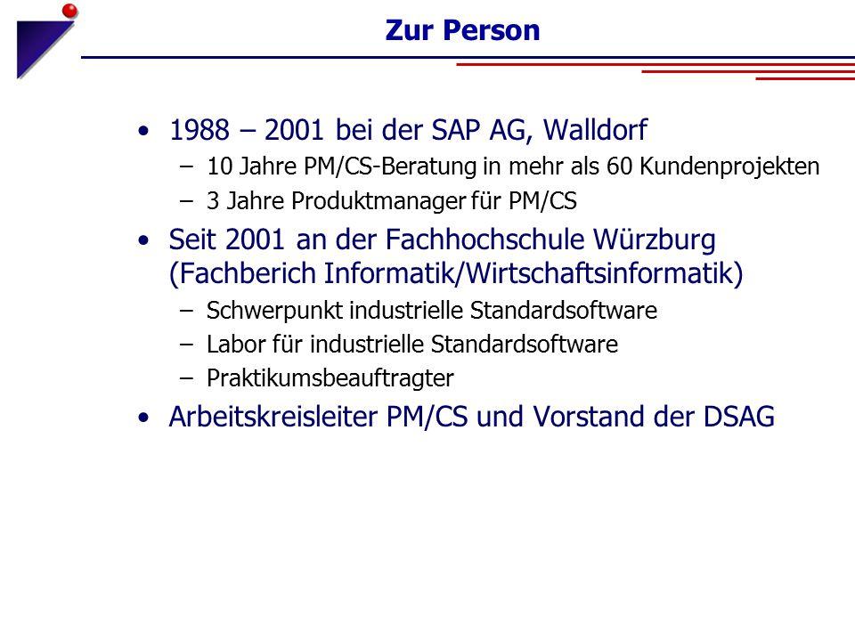 Zur Person 1988 – 2001 bei der SAP AG, Walldorf –10 Jahre PM/CS-Beratung in mehr als 60 Kundenprojekten –3 Jahre Produktmanager für PM/CS Seit 2001 an