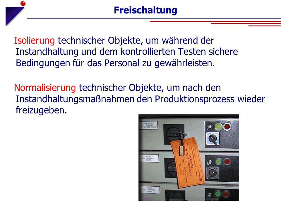 Freischaltung Isolierung technischer Objekte, um während der Instandhaltung und dem kontrollierten Testen sichere Bedingungen für das Personal zu gewä