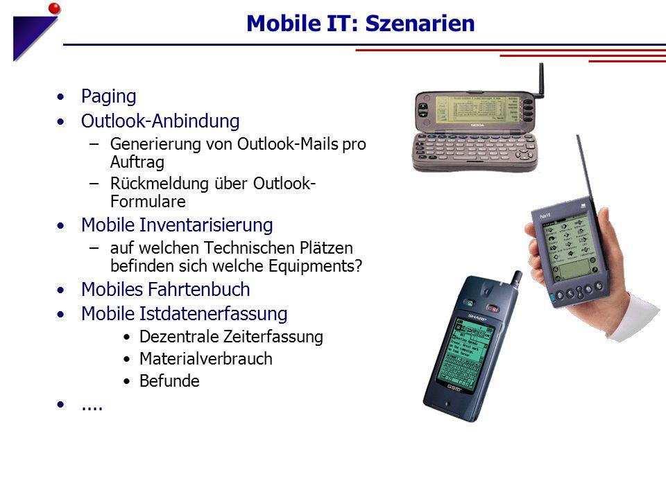 Mobile IT: Szenarien Paging Outlook-Anbindung –Generierung von Outlook-Mails pro Auftrag –Rückmeldung über Outlook- Formulare Mobile Inventarisierung