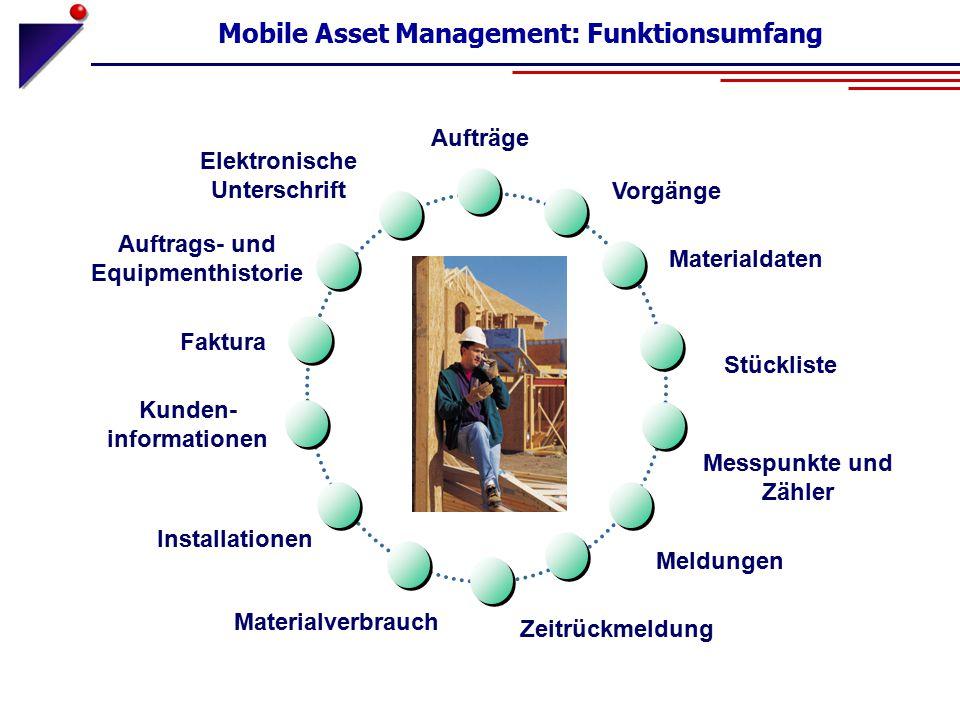 Mobile Asset Management: Funktionsumfang Auftrags- und Equipmenthistorie Materialdaten Vorgänge Faktura Materialverbrauch Installationen Kunden- infor