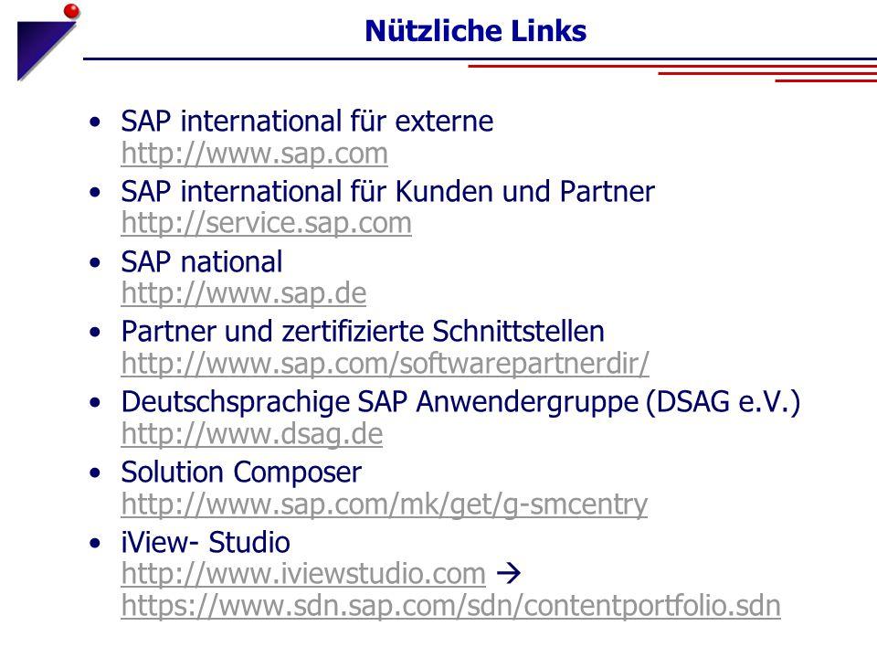 Nützliche Links SAP international für externe http://www.sap.com http://www.sap.com SAP international für Kunden und Partner http://service.sap.com ht