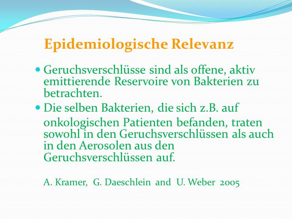 Epidemiologische Relevanz Geruchsverschlüsse sind als offene, aktiv emittierende Reservoire von Bakterien zu betrachten. Die selben Bakterien, die sic