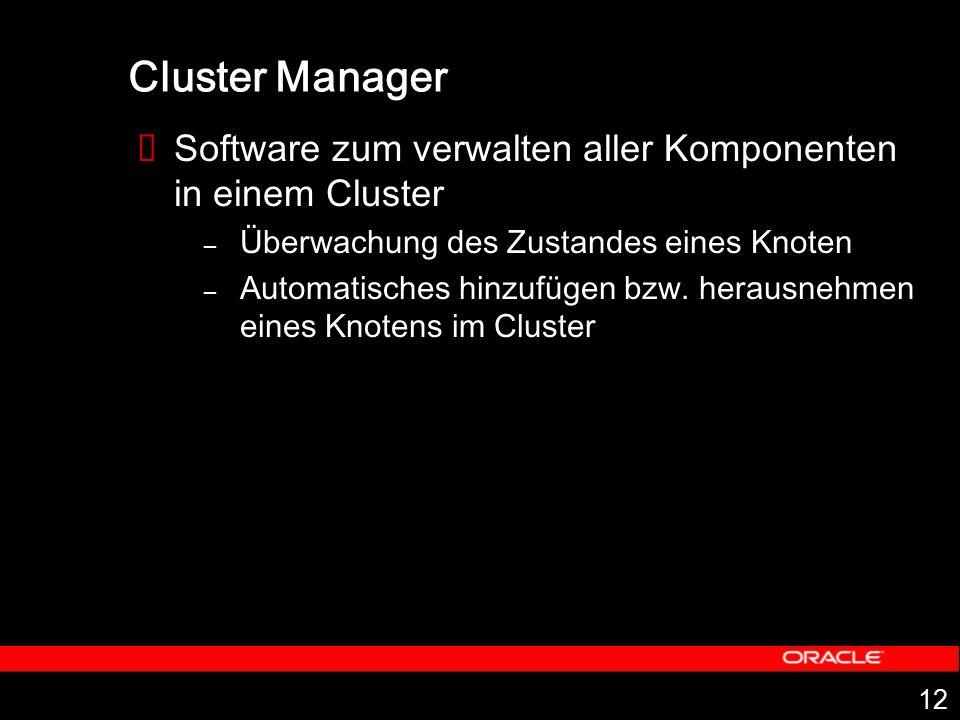 12 Cluster Manager  Software zum verwalten aller Komponenten in einem Cluster – Überwachung des Zustandes eines Knoten – Automatisches hinzufügen bzw