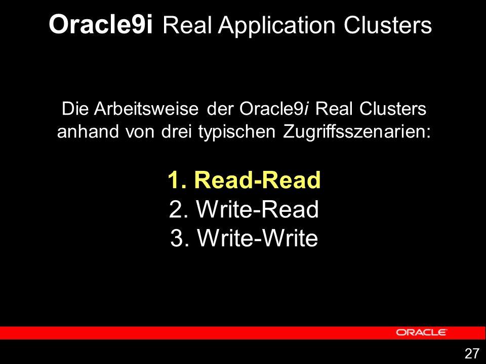 27 Die Arbeitsweise der Oracle9i Real Clusters anhand von drei typischen Zugriffsszenarien: 1. Read-Read 2. Write-Read 3. Write-Write Oracle9i Real Ap