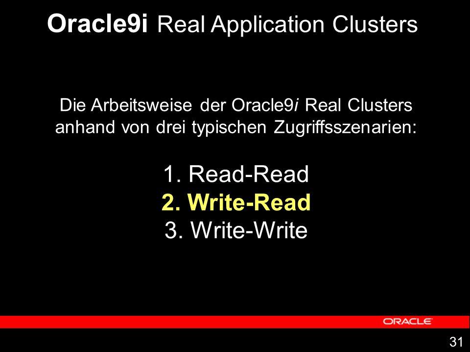 31 Die Arbeitsweise der Oracle9i Real Clusters anhand von drei typischen Zugriffsszenarien: 1. Read-Read 2. Write-Read 3. Write-Write Oracle9i Real Ap