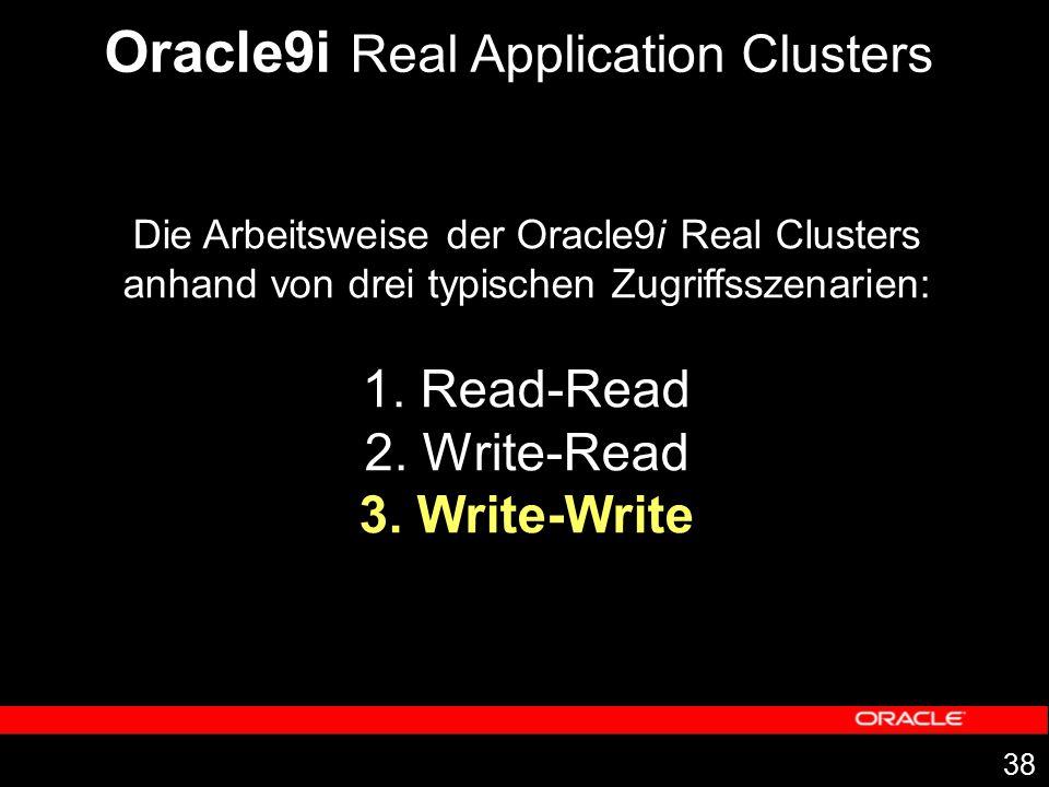 38 Die Arbeitsweise der Oracle9i Real Clusters anhand von drei typischen Zugriffsszenarien: 1. Read-Read 2. Write-Read 3. Write-Write Oracle9i Real Ap
