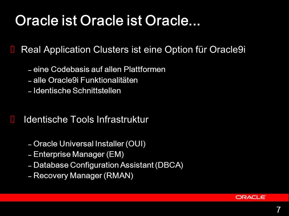 7 Oracle ist Oracle ist Oracle...  Real Application Clusters ist eine Option für Oracle9i – eine Codebasis auf allen Plattformen – alle Oracle9i Funk
