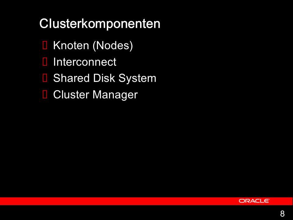 8 Clusterkomponenten  Knoten (Nodes)  Interconnect  Shared Disk System  Cluster Manager
