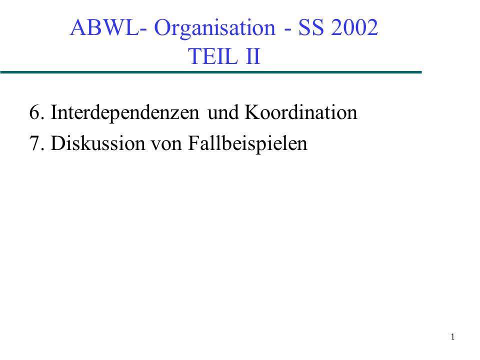 1 ABWL- Organisation - SS 2002 TEIL II 6. Interdependenzen und Koordination 7.